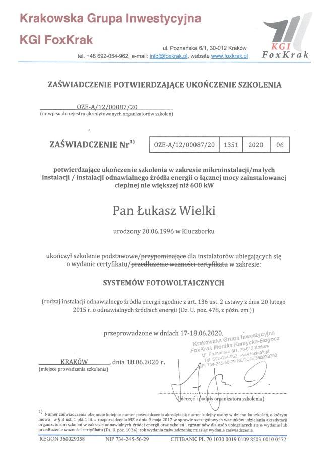 certyfikat fotowoltaika