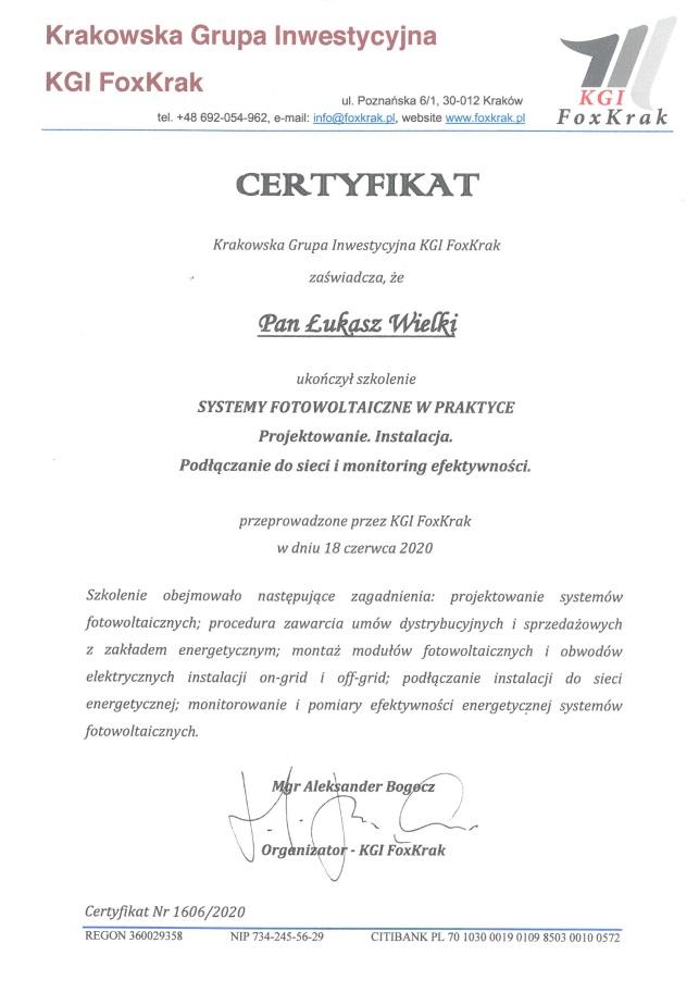 certyfikat łukasz wielki