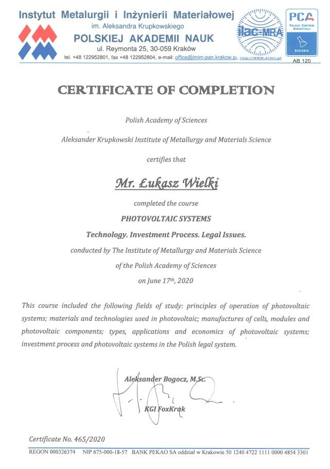 certyfikat fotowoltaiczny